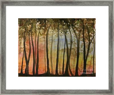 Wooded Sunset Framed Print by Bev Arnold