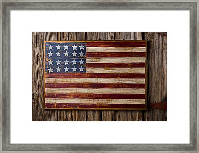 Wooden American Flag On Wood Wall Framed Print