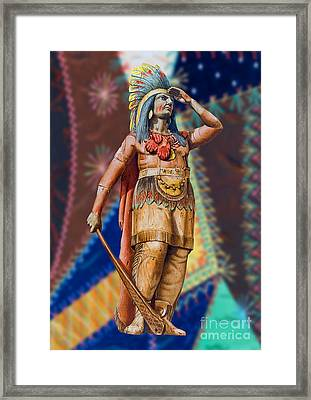 Wooden American Indian Framed Print