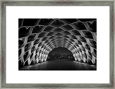 Wooden Archway With Chicago Skyline In Black And White Framed Print by Sven Brogren