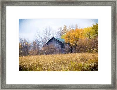 Wooden Autumn Barn Framed Print