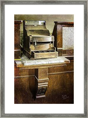 Framed Print featuring the photograph Wooden Bank Cash Register by Betty Denise