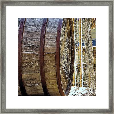 Wooden Barrel And Net Framed Print by Janice Drew