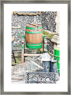 Wooden Barrel Framed Print