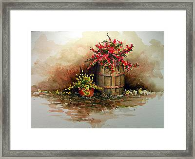Wooden Barrel With Flowers Framed Print by Sam Sidders