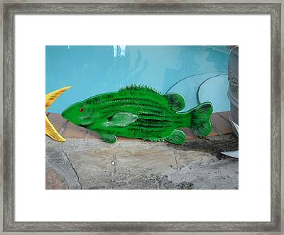 Wooden Bass Fish Framed Print by Val Oconnor