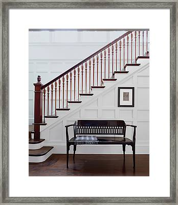 Wooden Bench And Staircase Inside House Framed Print