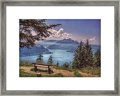 Wooden Bench Framed Print by Hanny Heim