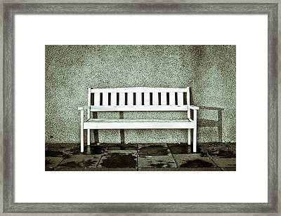 Wooden Bench Framed Print by Tom Gowanlock