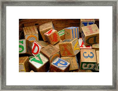 Wooden Blocks With Alphabet Letters Framed Print