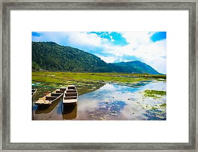Wooden Boat In China Framed Print by Lanjee Chee