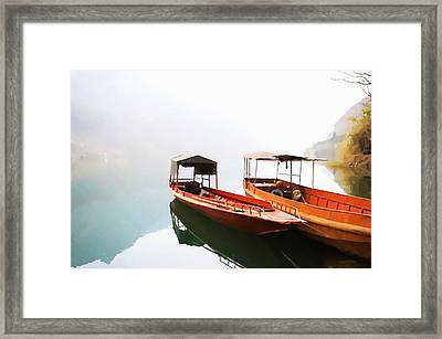 Wooden Boat In Lake Framed Print by Lanjee Chee