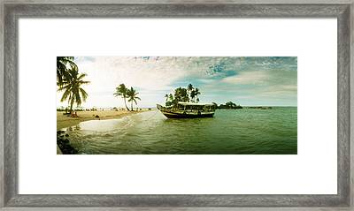 Wooden Boat Moored On The Beach, Morro Framed Print by Panoramic Images