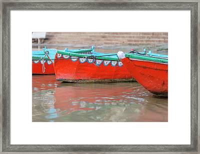 Wooden Boats In Ganges River, Varanasi Framed Print by Ali Kabas