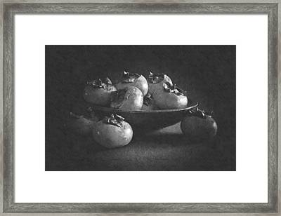 Wooden Bowl Of Persimmons Framed Print by Frank Wilson