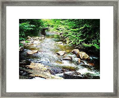 Wooden Bridge Framed Print by Joy Nichols