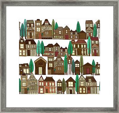 Wooden Buildings White Framed Print by Sharon Turner