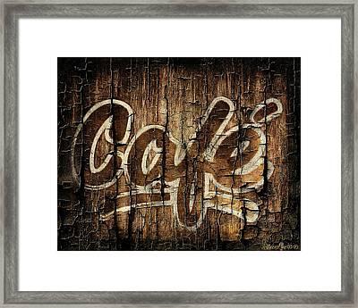 Wooden Cafe Sign Framed Print by Sheena Pike