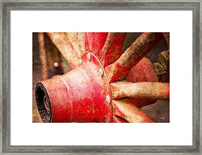 Wooden Cart Wheel Framed Print by Scott Pellegrin