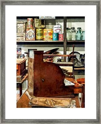 Wooden Cash Register In General Store Framed Print by Susan Savad
