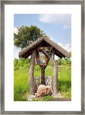 wooden shrine of holy Mother in Poland  Framed Print by Arletta Cwalina