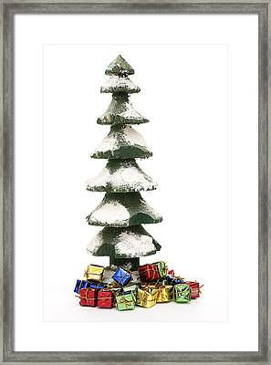 Wooden Christmas Tree With Gifts Framed Print by Donald  Erickson
