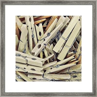 Wooden Clothes Pegs Framed Print