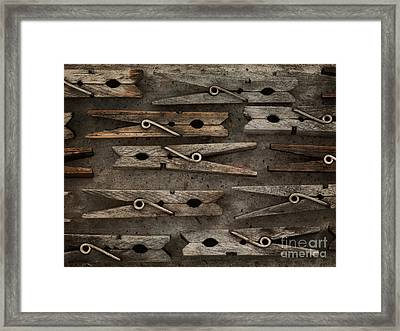Wooden Clothespins Framed Print