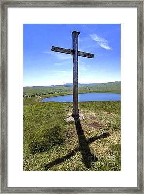 Wooden Cross Overlooking Lake Godivelle. Puy De Dome. Auvergne. France Framed Print