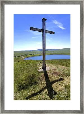 Wooden Cross Overlooking Lake Godivelle. Puy De Dome. Auvergne. France Framed Print by Bernard Jaubert