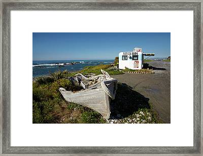 Wooden Dinghy, And Nins Bin Lobster Framed Print by David Wall