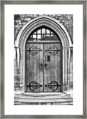 Wooden Door At Tower Hill Bw Framed Print
