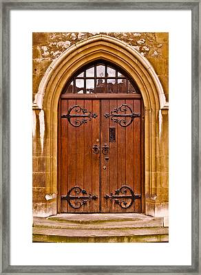 Wooden Door At Tower Hill Framed Print