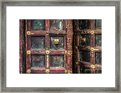 Wooden Door Framed Print by Catherine Arnas