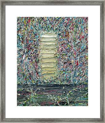 Wooden Door In The Garden Framed Print by Fabrizio Cassetta