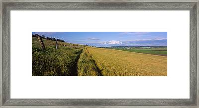 Wooden Fence Along A Farm, Ebeys Framed Print by Panoramic Images