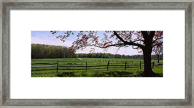 Wooden Fence In A Farm, Knox Farm State Framed Print by Panoramic Images