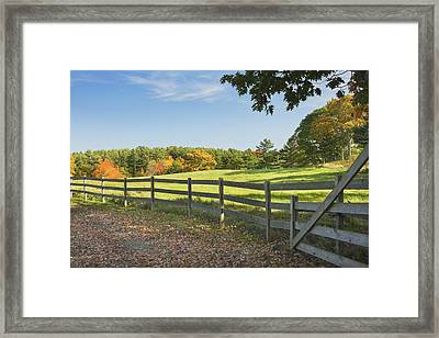 Wooden Fence In Autumn Maine Farm Pasture Framed Print by Keith Webber Jr