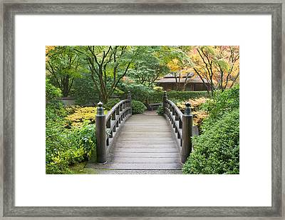 Framed Print featuring the photograph Wooden Foot Bridge In Japanese Garden by JPLDesigns