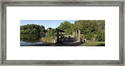 Wooden Footbridge Framed Print by William Ragan