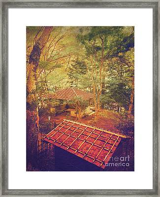 Wooden Gazebo And Small Shed In Forest Framed Print