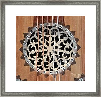 Wooden Guitar Inlay With Strings Framed Print