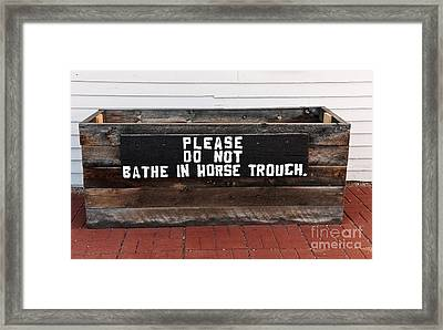 Wooden Horse Trough Framed Print by Sue Smith