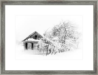 Wooden House After Heavy Snowfall 1. Russia Framed Print by Jenny Rainbow