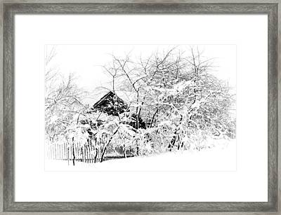 Wooden House After Heavy Snowfall. Russia Framed Print by Jenny Rainbow
