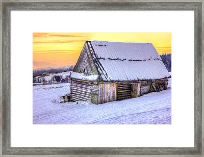 Wooden Hut In Sunset Framed Print