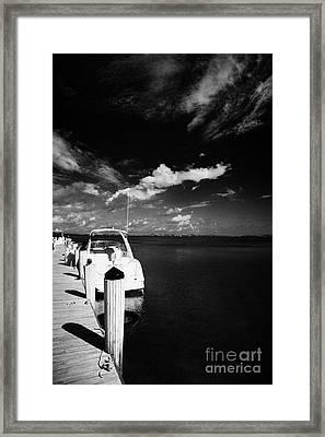 Wooden Jetty And Sports Boat Islamorada Florida Keys Usa Framed Print by Joe Fox