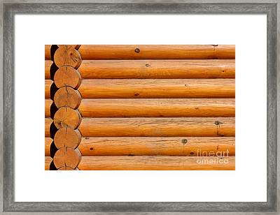 Wooden Logs Wall Background Framed Print by Kiril Stanchev