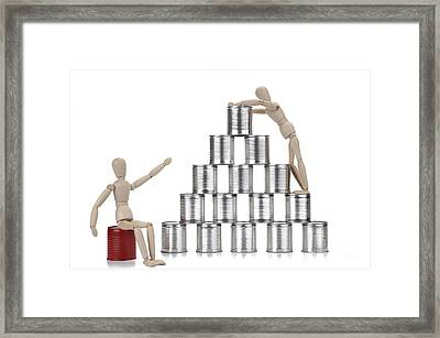 Wooden Mannequin And Tin Cans Framed Print