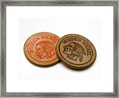 Wooden Nickels Framed Print